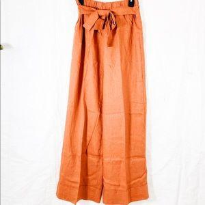 Paper Bag High Waist Wide Leg Belt Pant